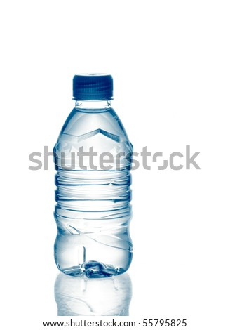 purified spring mineral water in the bottle with reflection. Is not isolated - stock photo