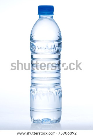 Purify drinking water in a clear bottle isolated on white - stock photo