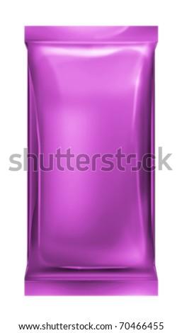 purple aluminum foil bag isolated on white background - stock photo