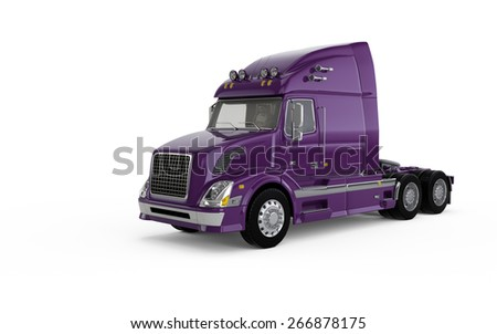 Purple american truck isolated on white background - stock photo