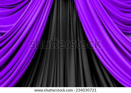 purple and black curtain on stage for luxury background - stock photo