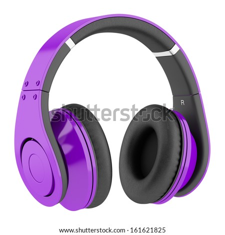purple and black wireless headphones isolated on white background - stock photo