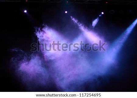 Purple and blue decoration of concert lighting - stock photo