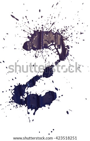 Purple and dark blue paint blots isolated on white background. - stock photo