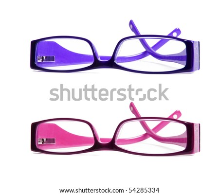 Purple and dark pink optical reading glasses - stock photo