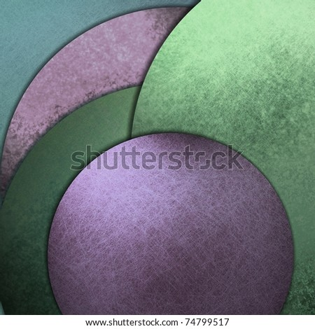 purple and green abstract background in layers of light and dark colored circles with grunge texture, shadows, and copy space - stock photo