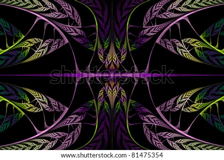 Purple and Green Fractal Background - stock photo