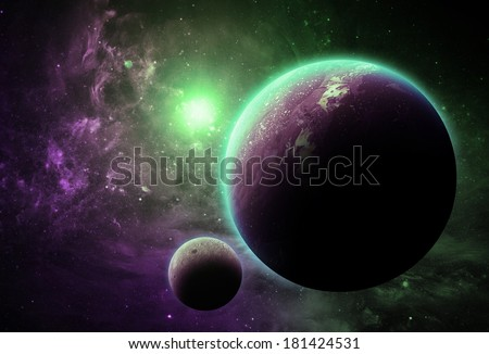 Purple and Green Planet - Elements of This Image Furnished By NASA - stock photo