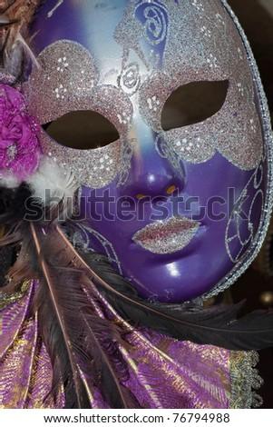 purple and silver venice carnival mask - stock photo