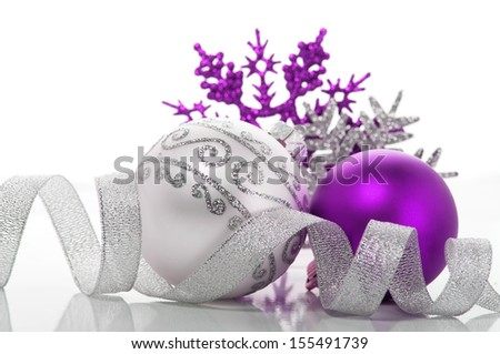 Purple and silver xmas decoration - stock photo