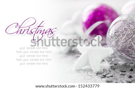 Purple and silver xmas decoration with copy space - stock photo