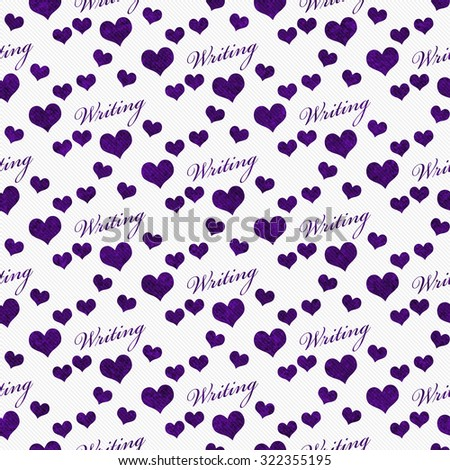 Purple and White I Love Writing Tile Pattern Repeat Background that is seamless and repeats - stock photo