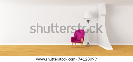 Purple armchair with standard lamp in modern minimalist interior - stock photo