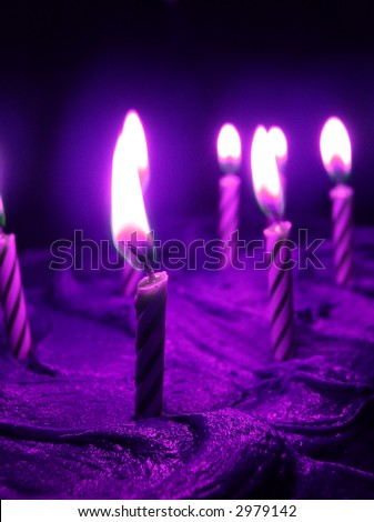 purple aura birthday candles - stock photo