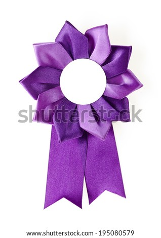 purple award rosette on a white background - stock photo
