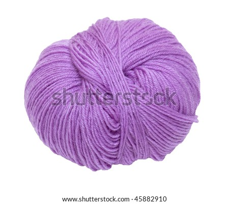 Purple ball of yarn. Isolation.