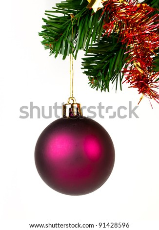 Purple  ball on white background