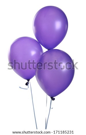 Purple balloons isolated on white  - stock photo
