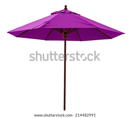 Purple beach umbrella isolated on white. Clipping path included. - stock photo