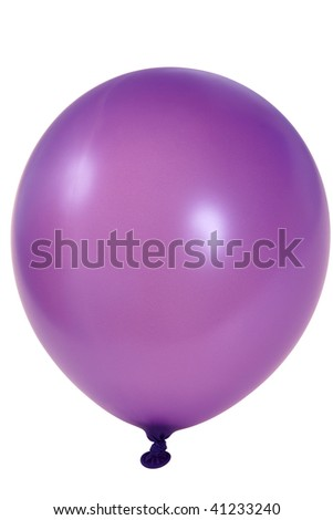 Purple big balloon  isolated on white background (with clipping path) - stock photo