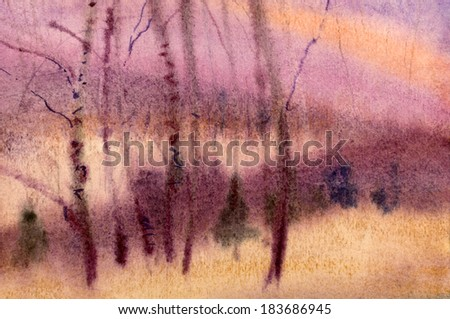 purple birch wood painted in watercolor - stock photo