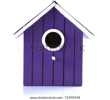 Purple bird house on a white background. - stock photo