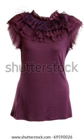 purple blouse in Women's feathers on a white background