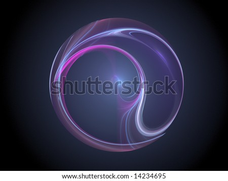 Purple blue plasma fractal sphere against black background - computer generated high resolution fractal graphic - stock photo