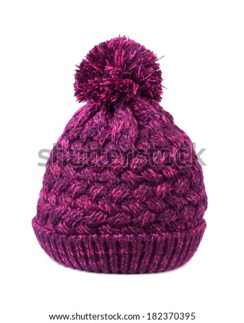 Purple bobble hat on a white background - stock photo