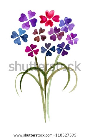 Purple Bouquet of Flowers isolated on a white background - stock photo