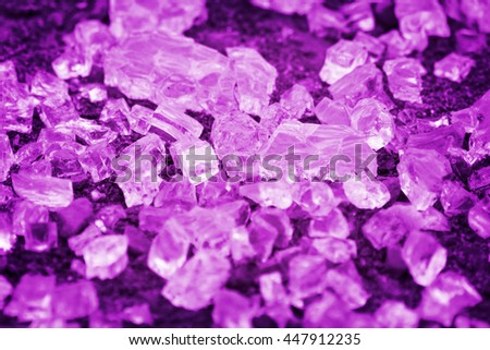 Purple broken glassy cubes. Toned - stock photo