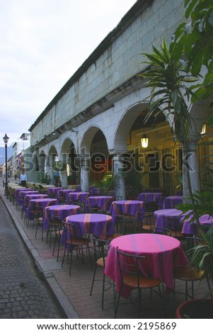 purple cafe tables - stock photo