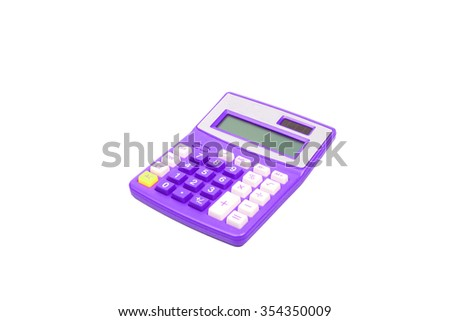 Purple calculator on a white background - stock photo