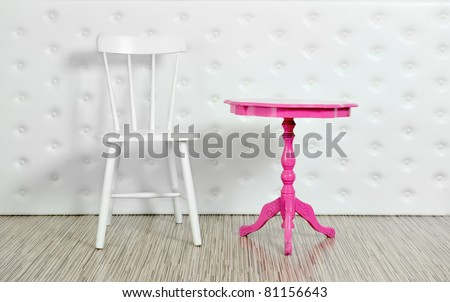 Purple chair and white table on a white background - stock photo