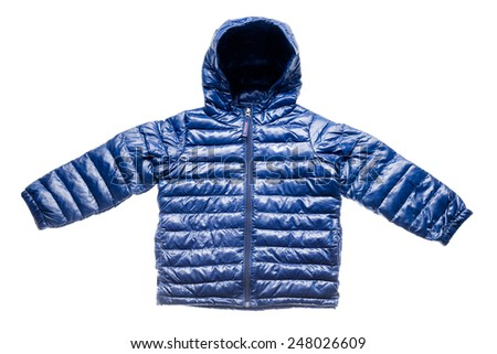 Purple children's winter jacket isolated on white. - stock photo
