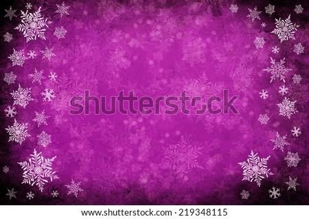 purple christmas background with white snowflakes  - stock photo