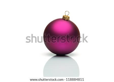 Purple christmas ball isolated on white background - stock photo
