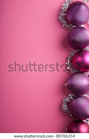 purple christmas balls border - stock photo