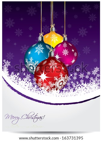 Purple christmas card design with shiny decorations