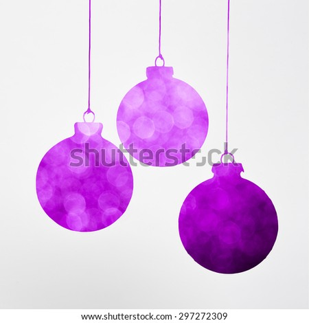 Purple Christmas decoration concept isolated on white - stock photo