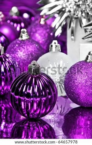 Purple christmas decorations - stock photo