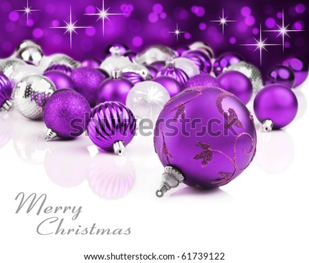 Purple christmas ornaments with star background - stock photo