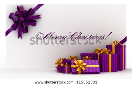 Purple christmas postal, envelope with gifts and bow on white - stock photo