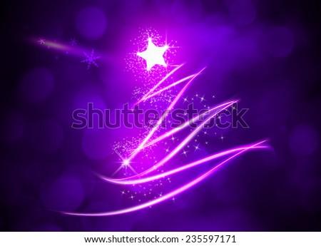 Purple Christmas tree with sparkle light background.  - stock photo