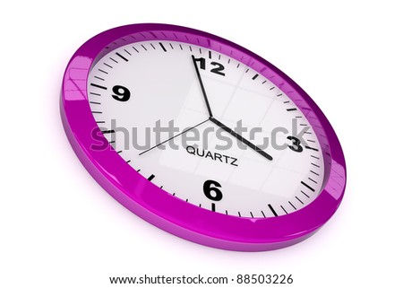 purple classic office clock on white background