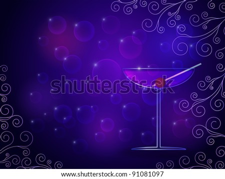 Purple cocktail glass illustration with bokeh background effect, swirls and a place for text