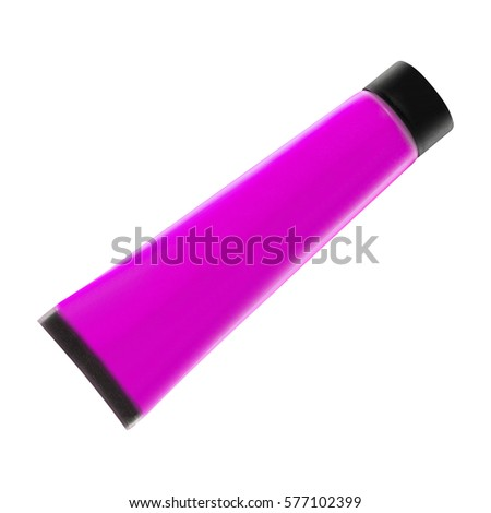 Purple cosmetic tube isolated on white