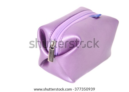 purple  cosmetics bag isolated on white background