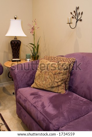 purple couch in a modern living room - stock photo