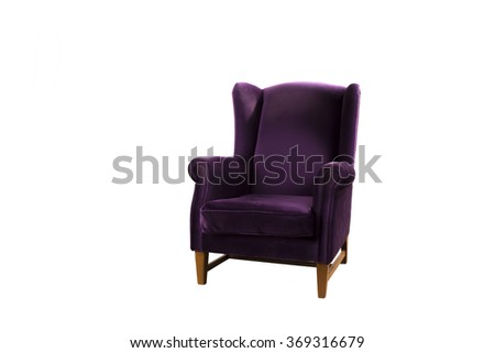 purple couch isolated on white background